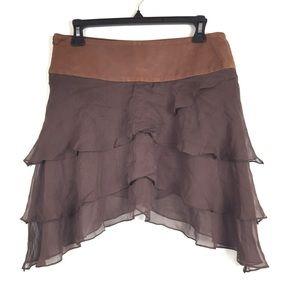 Alice + Olivia leather waistband silk skirt Sz 2